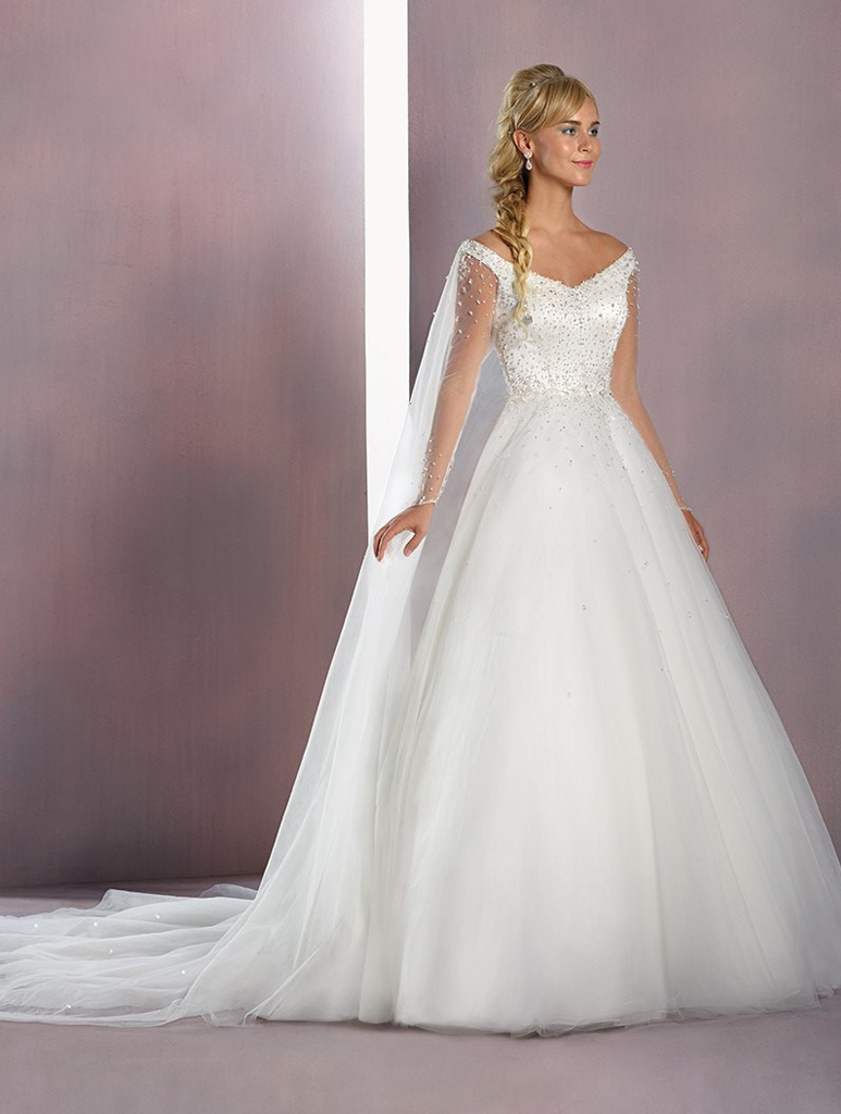 Alfred angelo disney elsa gown for Designer disney wedding dresses